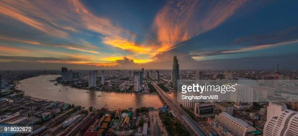 aerial panorama view of bangkok city and chaophraya river - association of southeast asian nations stock photos and pictures