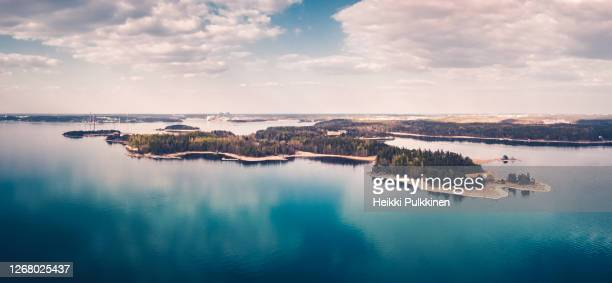 aerial panorama view of ruissalo, turku, finland. - turku finland stockfoto's en -beelden