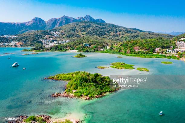 aerial panorama view of sai kung, the famous vacation location in hong kong - country geographic area stock pictures, royalty-free photos & images