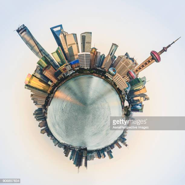 360° aerial panorama view of shanghai - little planet format stock photos and pictures