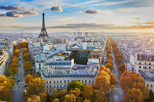 Aerial panoramic cityscape view of Paris, France 877496736
