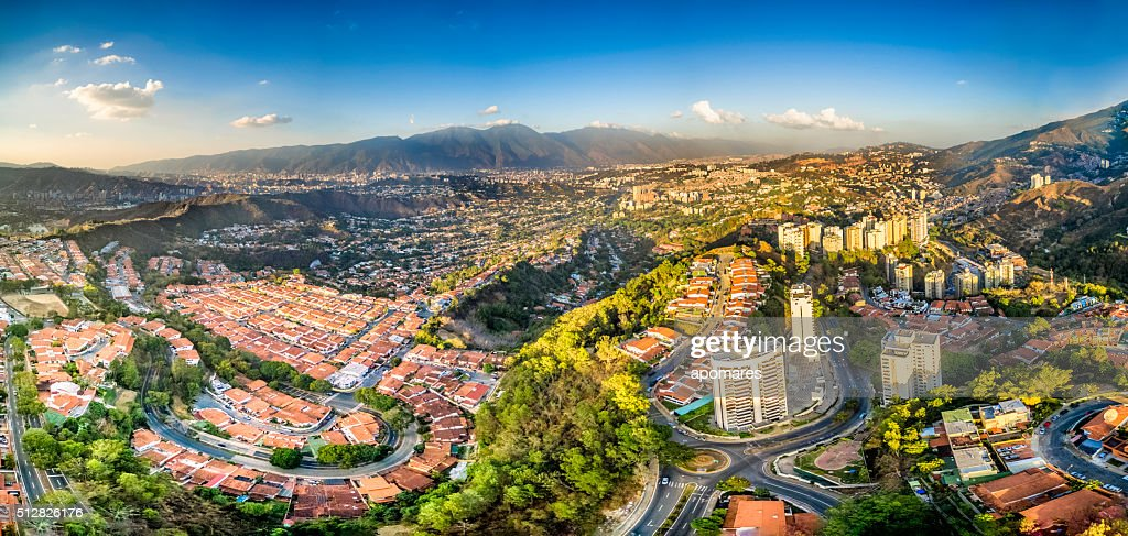 Aerial Panoramic image of Caracas city view with El Avila : Stock Photo