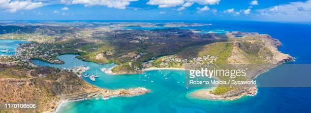 aerial panoramic of english harbour, antigua - isla martinica fotografías e imágenes de stock