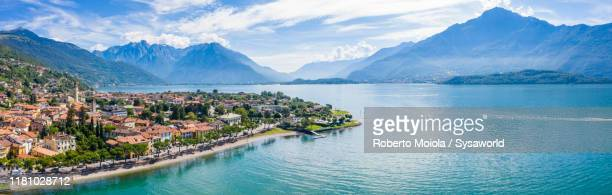 aerial panoramic of gravedona, lake como, italy - コモ ストックフォトと画像