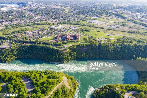 aerial panoramic of niagara river and niagara river recreation trail, ontario, canada - buffalo new york state stock pictures, royalty-free photos & images
