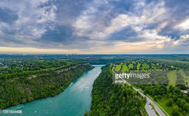 aerial panoramic of niagara river and niagara river recreation trail, ontario, canada - niagara river stock pictures, royalty-free photos & images