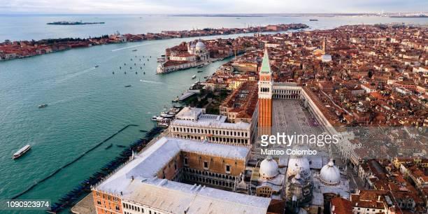 aerial panoramic of st mark's square, venice - basilica di san marco foto e immagini stock