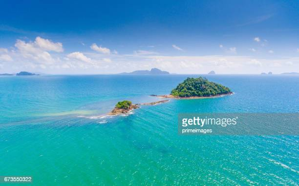 Aerial Panoramic sea view and coastline in south thailand