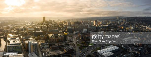 aerial panoramic view above sheffield city during a cold frosty winter morning - sheffield stock pictures, royalty-free photos & images