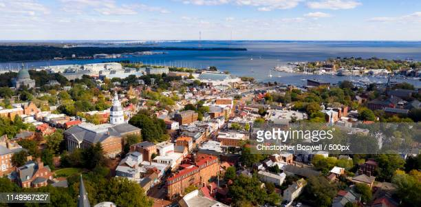 aerial panoramic view annapolis maryland state house capital cit - annapolis stock pictures, royalty-free photos & images