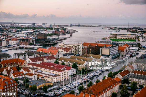 aerial panoramic view from center of copenhagen, denmark - denmark stock pictures, royalty-free photos & images