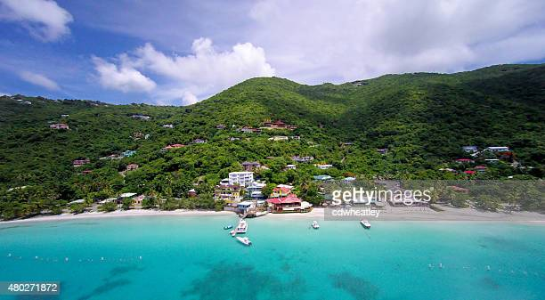 aerial panoramic view of Cane Garden Bay, Tortola, BVI