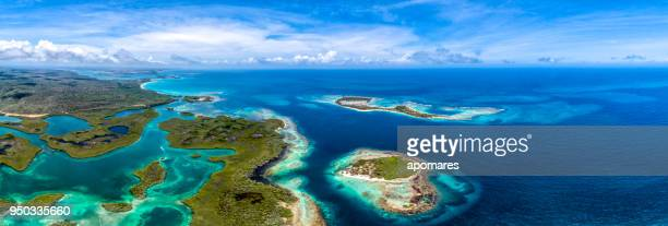 Aerial panoramic view of Caribbean Cays, Islands and the coastline