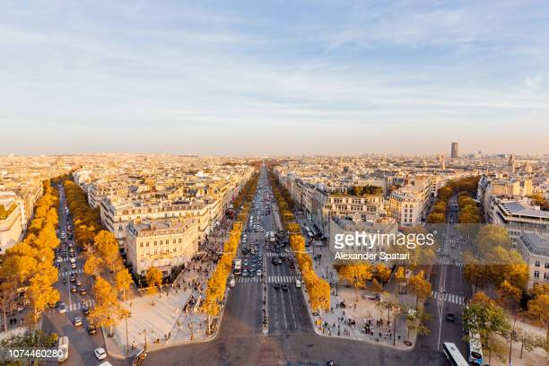 aerial panoramic view of champs-elysees avenue, paris, france - シャンゼリゼ通り ストックフォトと画像
