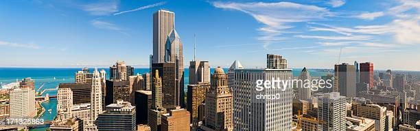 Aerial Panoramic View of Chicago and Lake Michigan