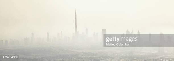 Aerial panoramic view of Dubai in the fog