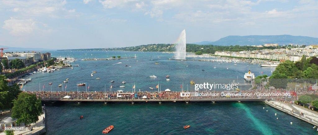 Aerial Panoramic View of Lake Parade in Geneva : Stock Photo
