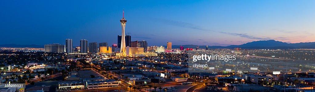 Aerial Panoramic View of Las Vegas at Dusk : Stock Photo