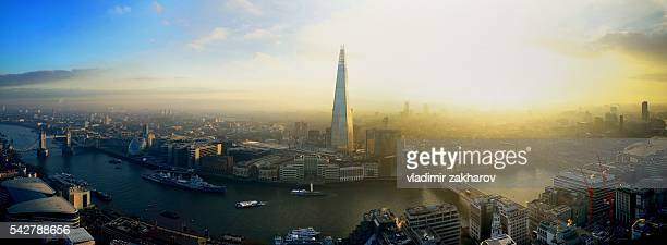 Aerial panoramic view of London at sunset