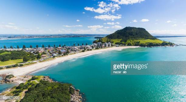 aerial panoramic view of mt maunganui coastline. - north stock pictures, royalty-free photos & images