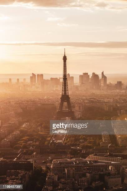 aerial panoramic view of paris cityscape - paris skyline stock pictures, royalty-free photos & images