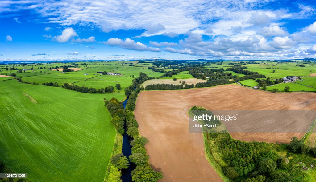 Aerial panoramic view of rural Dumfries and Galloway in south west Scotland : Stock Photo