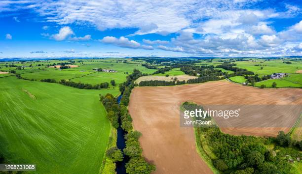 aerial panoramic view of rural dumfries and galloway in south west scotland - johnfscott stock pictures, royalty-free photos & images