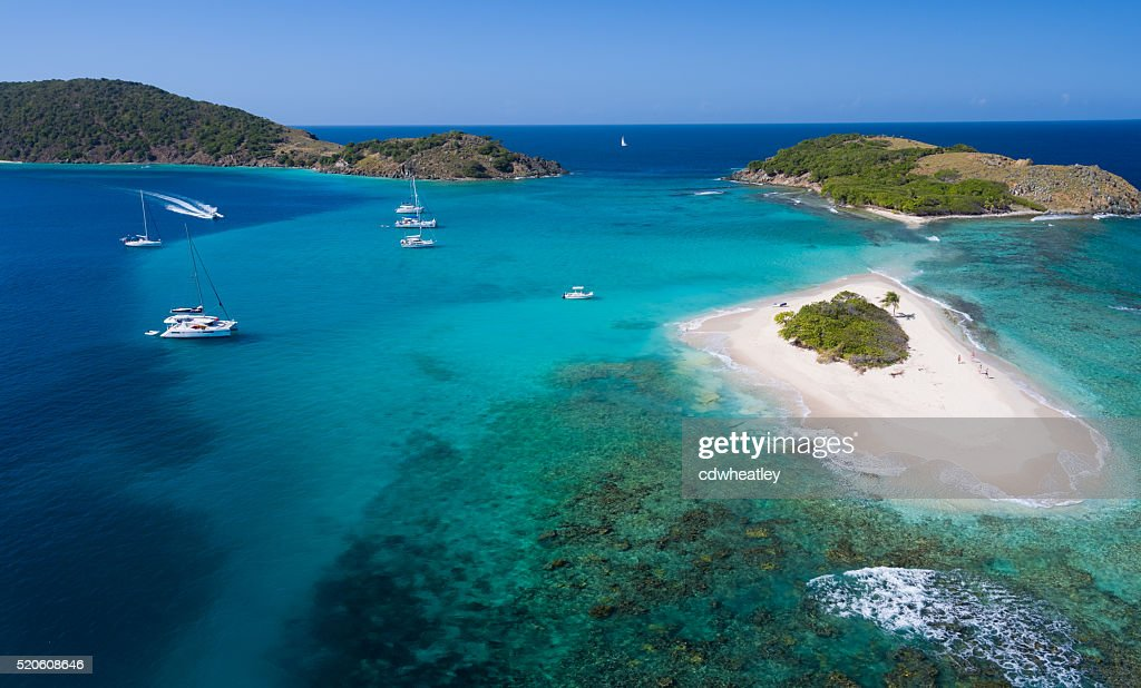 Aerial panoramic view of Sandy Spit, British Virgin Islands : Stock Photo