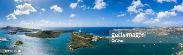 Aerial Panoramic View of Spanish Waters Bay and Caribbean Sea in Curacao