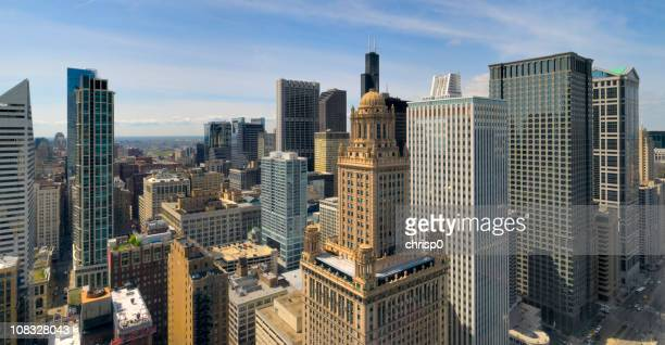 aerial panoramic view of the chicago loop (xxxl) - wacker drive stock photos and pictures