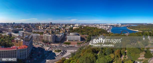 aerial panoramic view of the european square in kiev - キエフ市 ストックフォトと画像