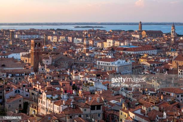 aerial panoramic view of venice and the lagoon from campanile di san marco in saint mark square - san bruno stock pictures, royalty-free photos & images
