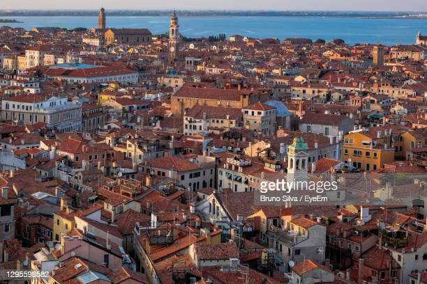 aerial panoramic view of venice and the lagoon from the top of campanile di san marco - san bruno stock pictures, royalty-free photos & images