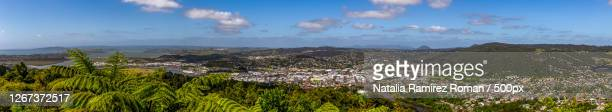 aerial panoramic view of whangarei, new zealand - whangarei heads stock-fotos und bilder