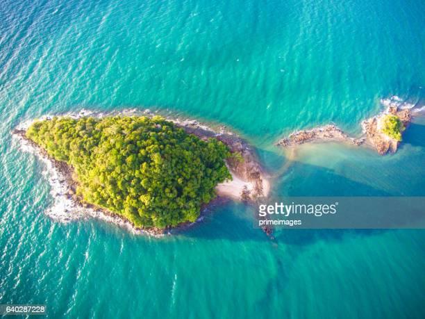 Aerial panoramic view  pakmeng beach of thailand near krabi