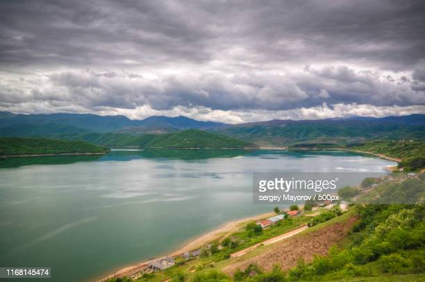 aerial panoramic view to lake debar, north macedonia - north stock pictures, royalty-free photos & images