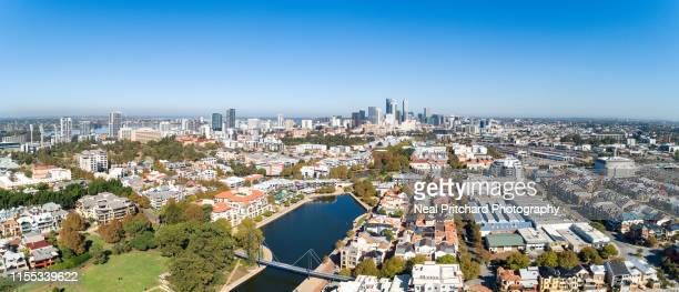 aerial panoramic views over the perth cbd skyline - perth australia stock pictures, royalty-free photos & images