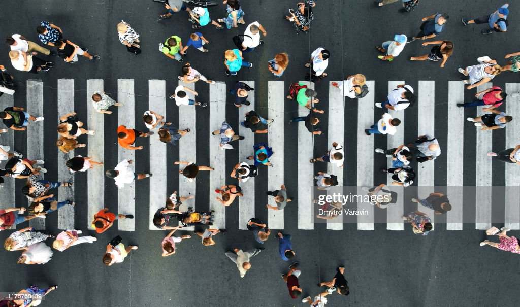 Aerial. Pedestrians on pedestrian crosswalk. Top view. : Stock Photo