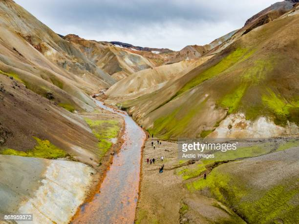 Aerial- People by the Jokulgilskvisl River in Landmannalaugar, Iceland
