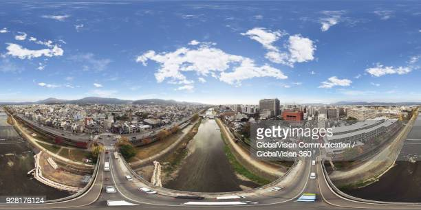 aerial perspective above nijo bridge in kyoto, japan - 全天周パノラマ ストックフォトと画像