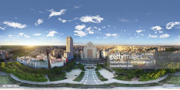 360° Aerial Perspective above Plaza de Espana in Madrid, Spain