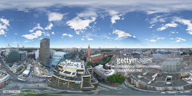 aerial perspective above victoria, london, uk - equirectangular panorama stock pictures, royalty-free photos & images