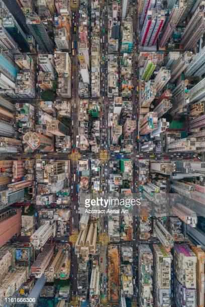 aerial perspective looking down on mong kok, hong kong - kowloon peninsula stock pictures, royalty-free photos & images