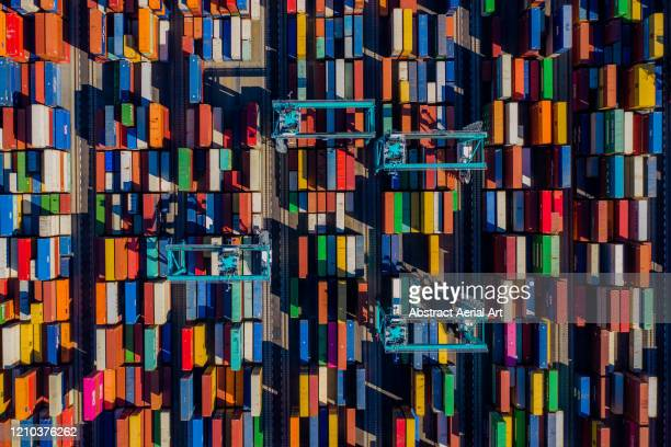 aerial perspective of a container port, virginia, united states of america - box container stock pictures, royalty-free photos & images