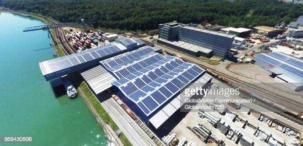 aerial perspective of basel port, switzerland - basel port stock photos and pictures