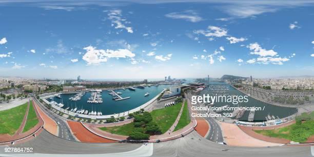 360° aerial perspective of darsena nacional marina in barcelona, spain - 360 fotografías e imágenes de stock