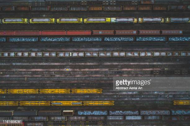 aerial perspective of freight trains, birmingham, england, united kingdom - horsedrawn stock pictures, royalty-free photos & images