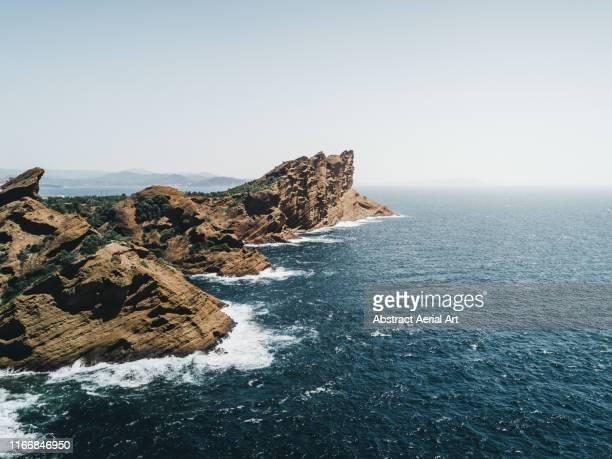 aerial perspective of marseille coastline, france - barranco fotografías e imágenes de stock