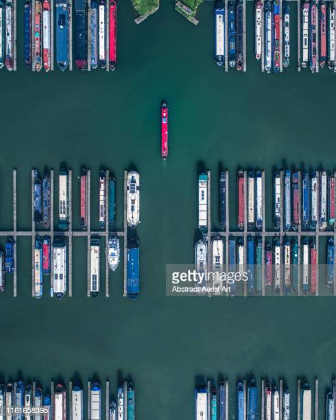aerial perspective of moored canal boats, gloucestershire, united kingdom - tourism stock pictures, royalty-free photos & images