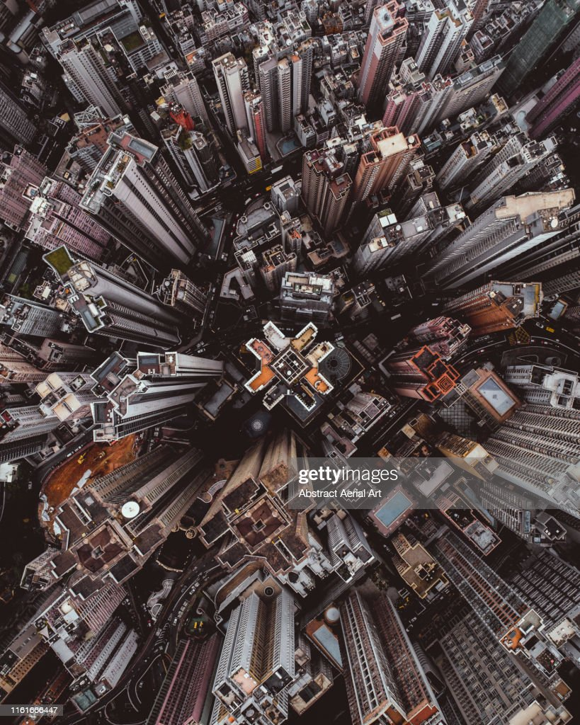 Aerial perspective of skyscrapers in Mid Levels district, Hong Kong Island : Stockfoto
